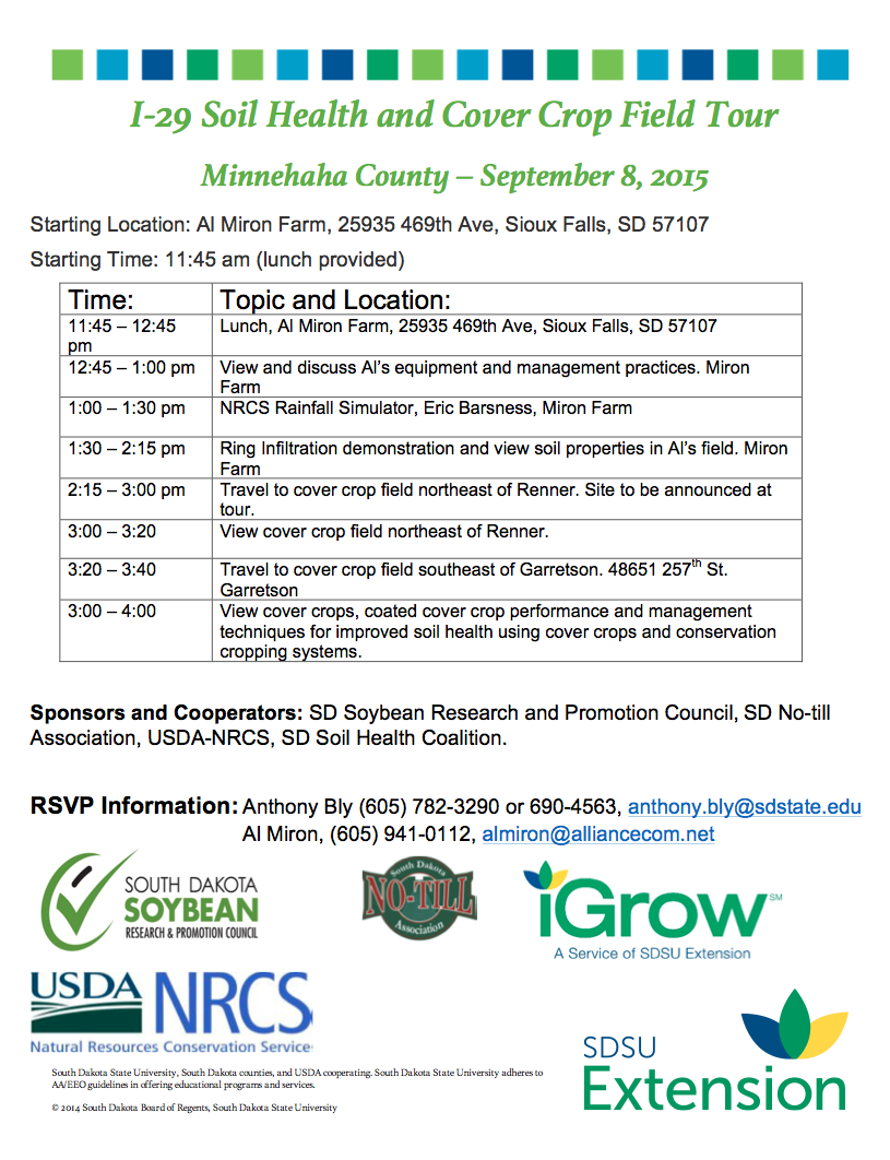 Ag united i 29 soil health and cover crop field tour for Soil tour dates 2015